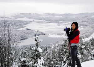 Image of Jo Foo taking photos in the Scottish Highlands